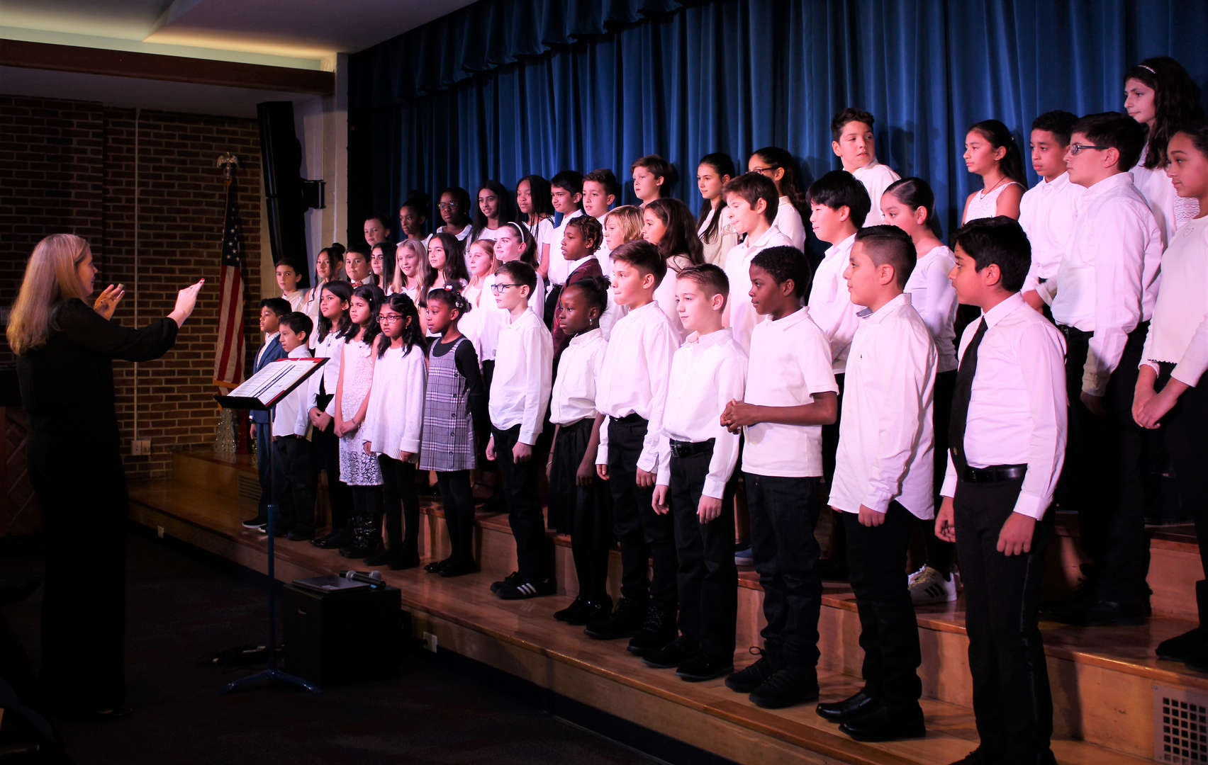 The Fifth and Sixth Grade Chorus perform during the Winter Concert.