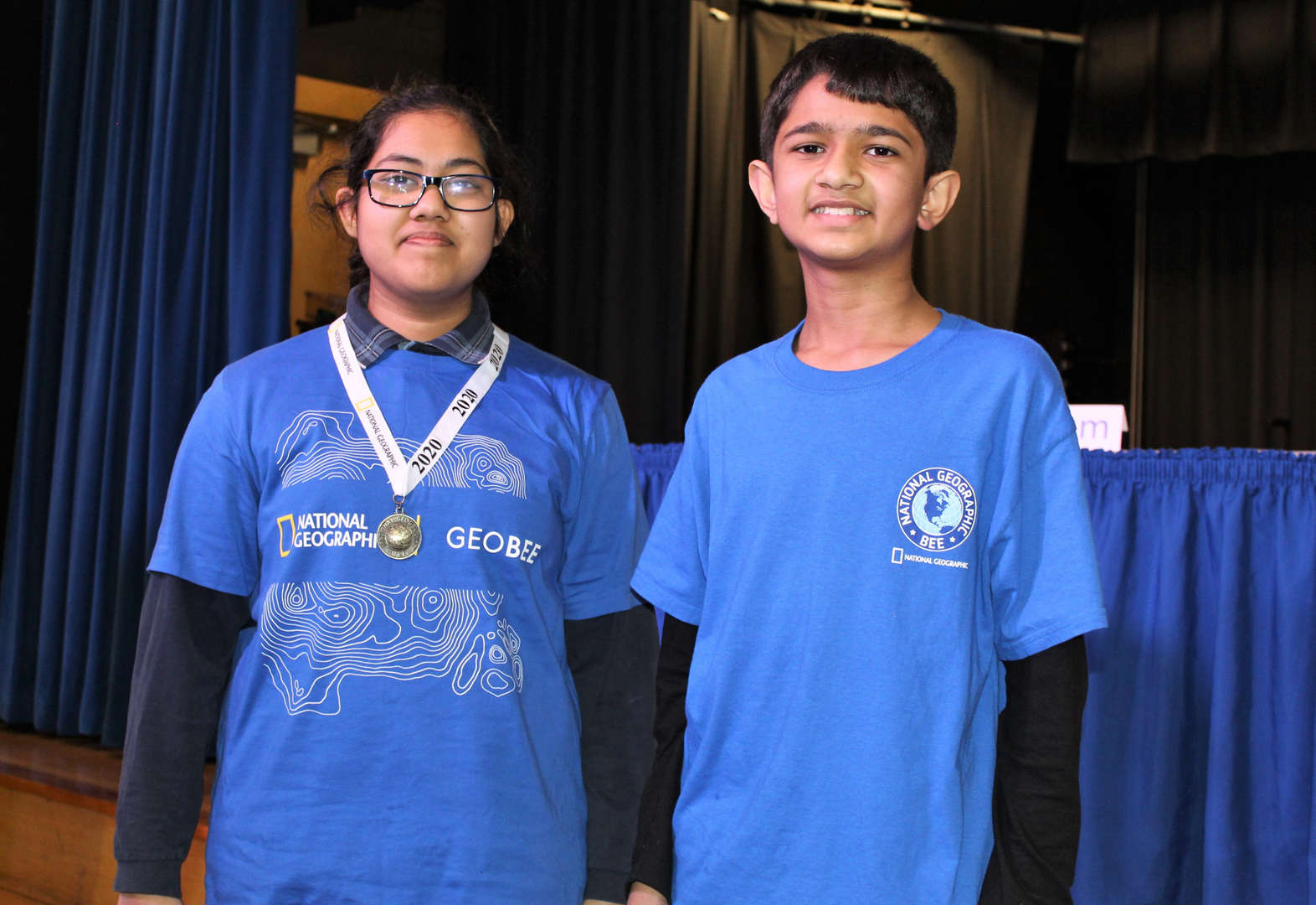 Maryum F. and Zayd R. came in first and second in the school's Geography Bee.