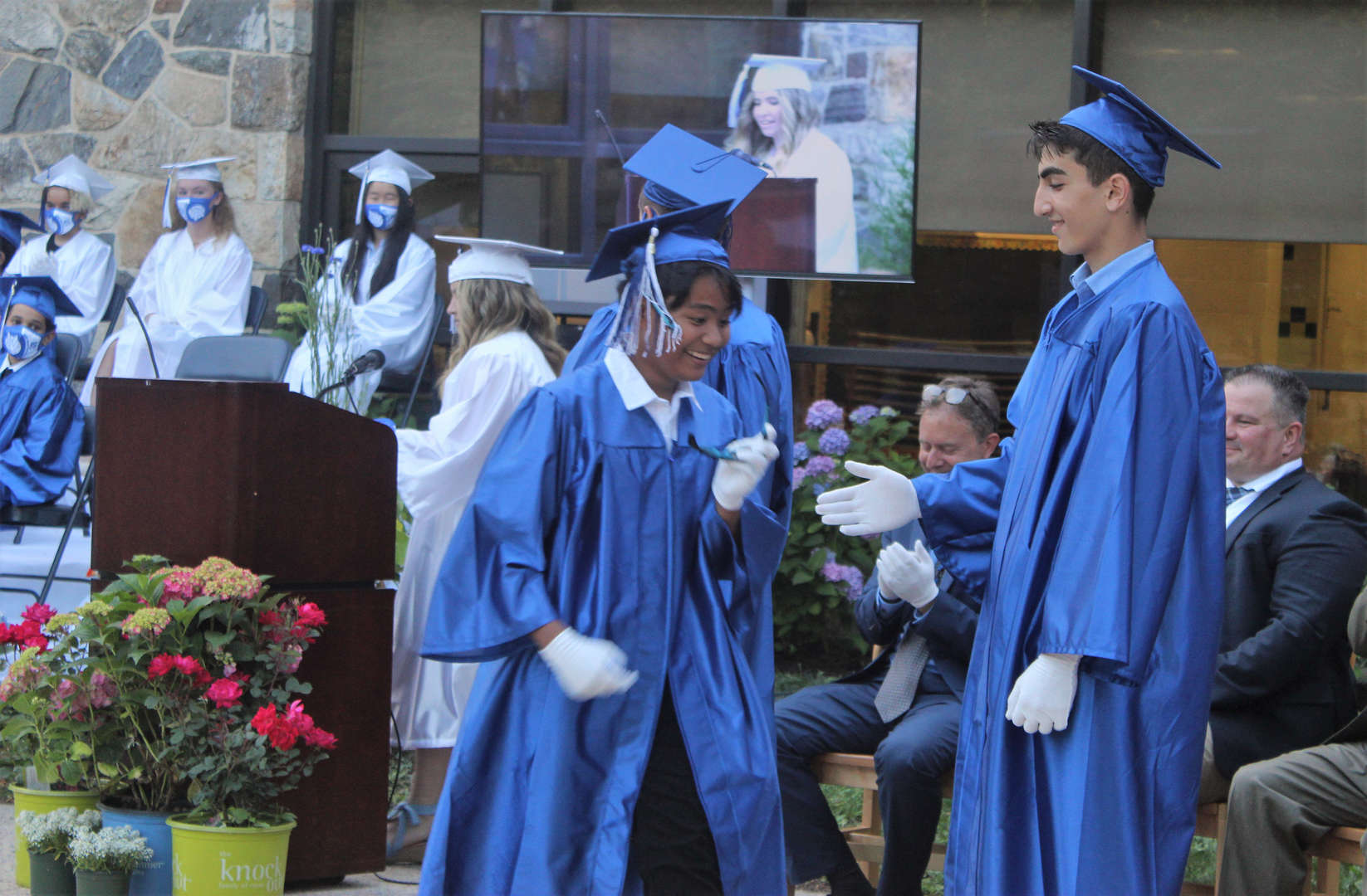 Student government speakers addressed classmates, staff and families.