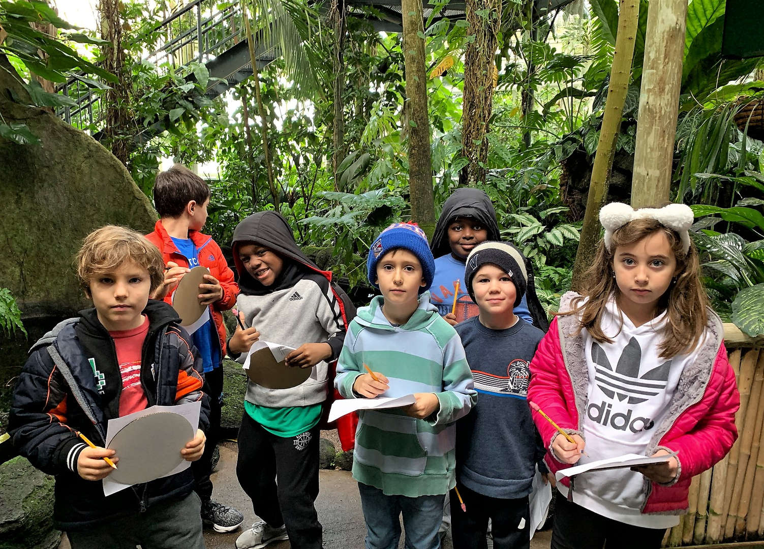 Students explored the garden's conservatory.