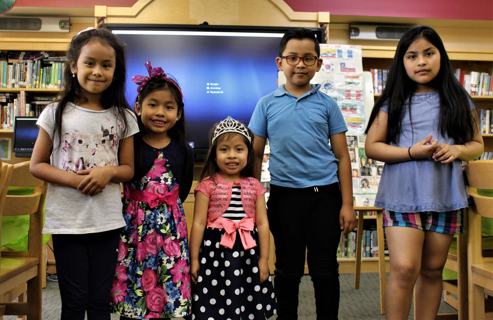 Students pose for a photo at the English language learners annual luncheon.