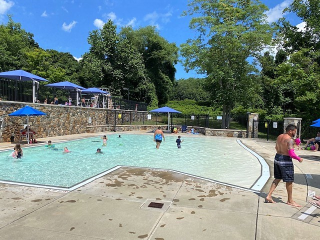 Children and adults have fun in the shallow pool at Pocantico Hills School.