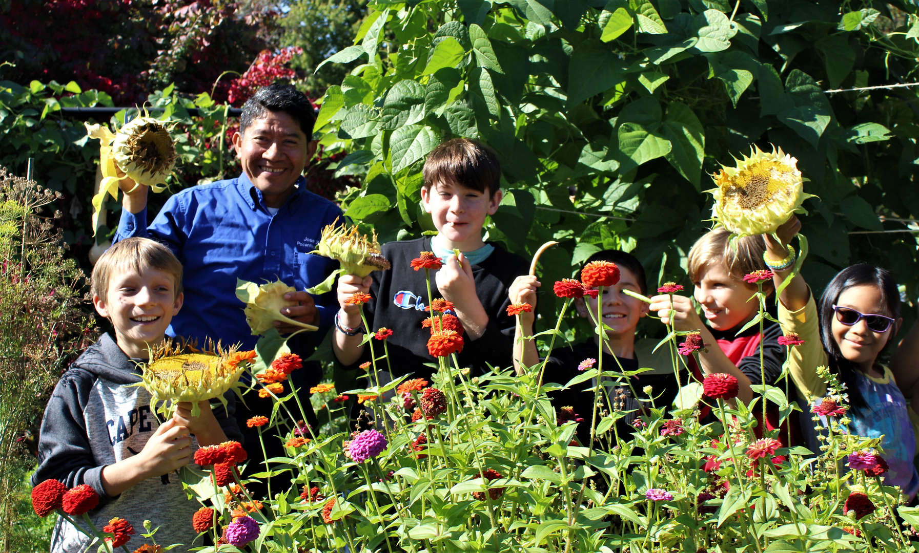 Students and the gardener hold sunflowers they will save seeds from.