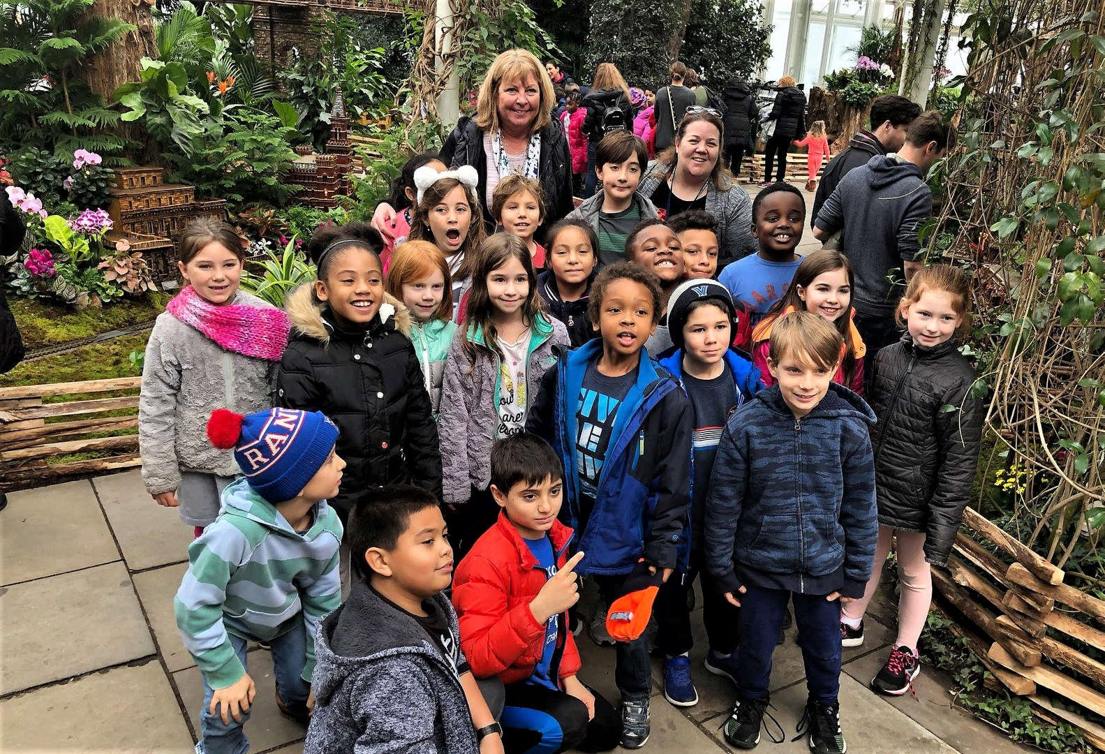 Third-graders pose for a photo at the New York Botanical Garden.