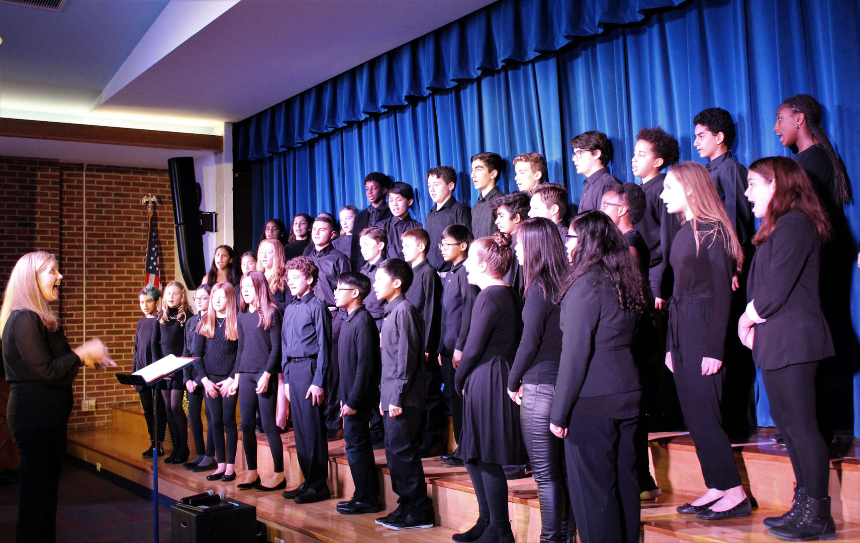 The Seventh and Eighth Grade Chorus perform during the Winter Concert.