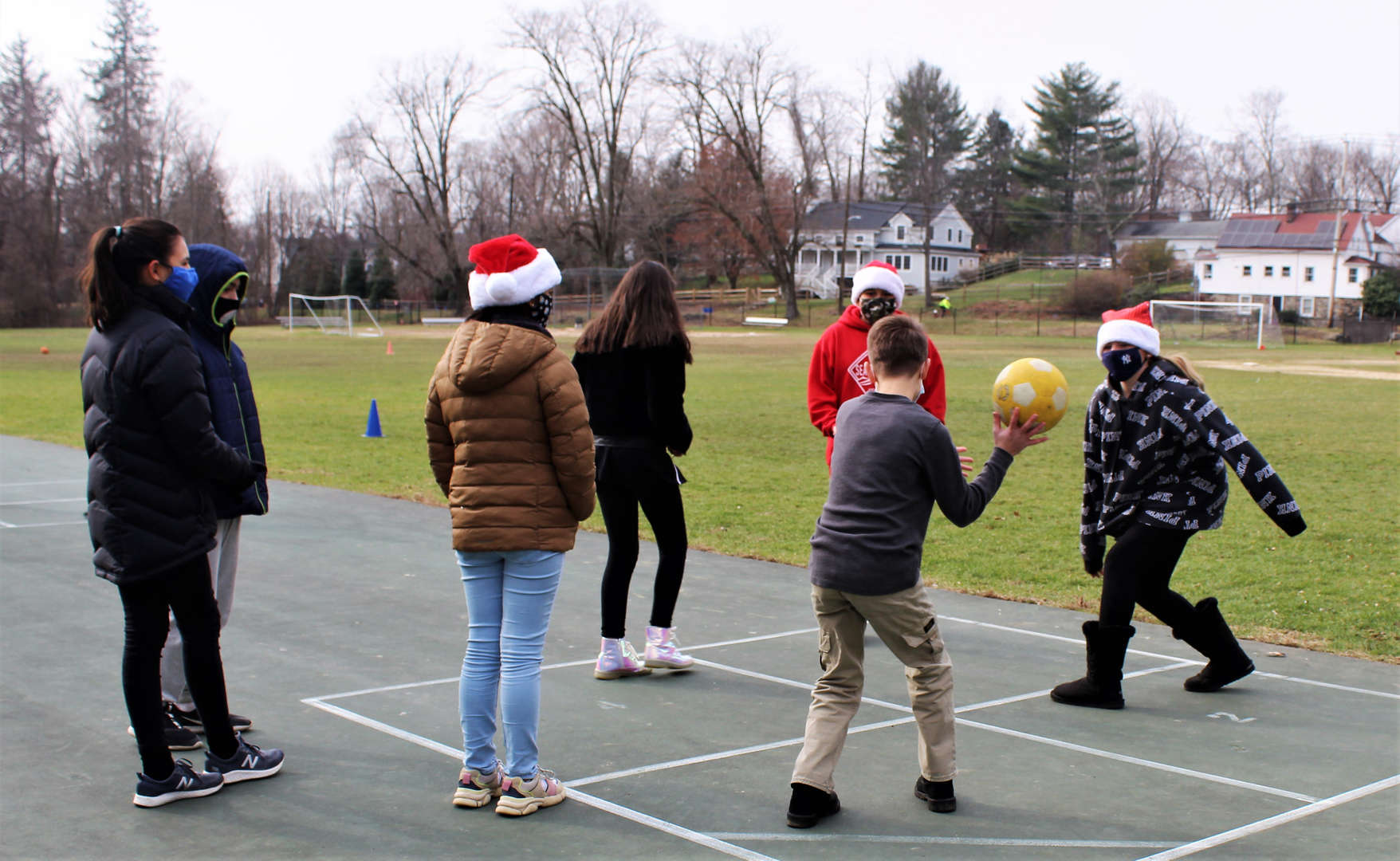 Students play the game four square on the Pocantico Hills playground.