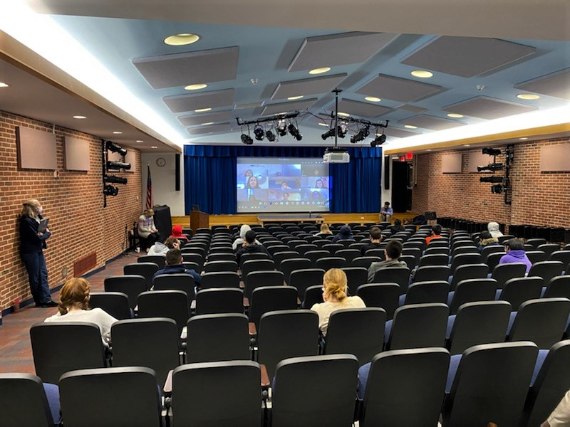 Eighth-graders take part in a virtual visit of Briarcliff High School.