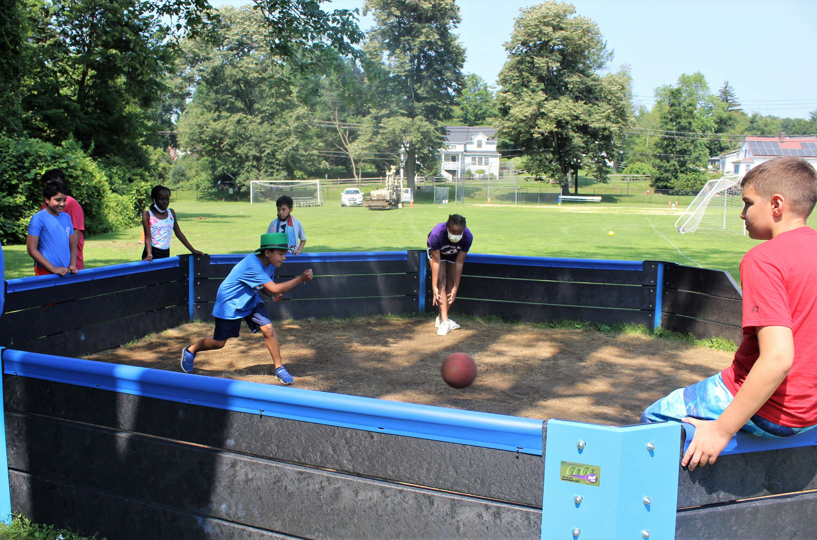 Campers play in the gaga ball pit.