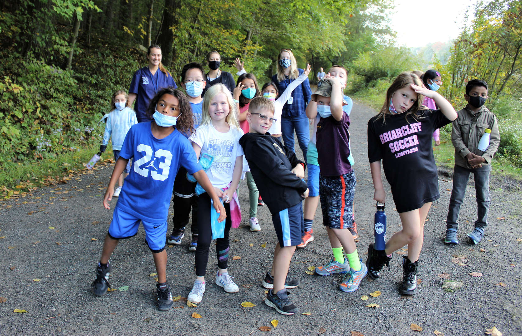 Pocantico Hills students strike a pose while on the trail at Rockefeller Park.
