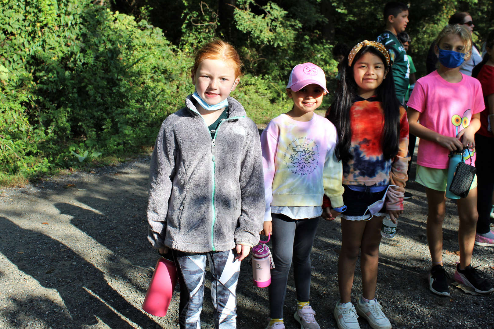 Three Pocantico Hills School girls walk on a path at Rockefeller State Park Preserve Oct. 8.