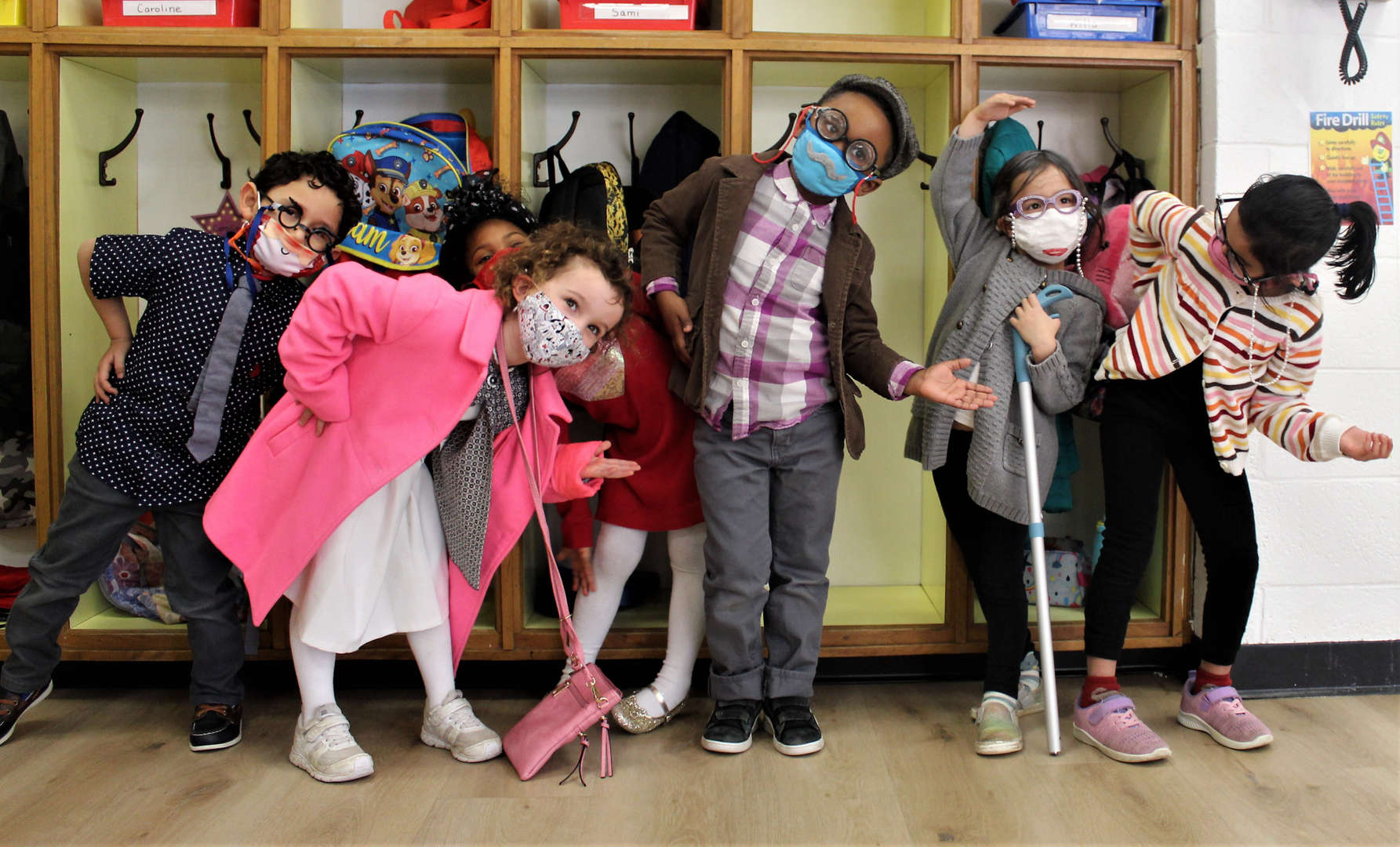 Pre-kindergarten students dressed as 100-year-old people.