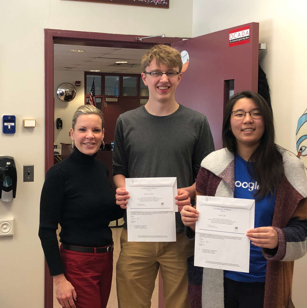 Finalists in the 2019 Competition for National Merit Scholarship with Principal Saieva
