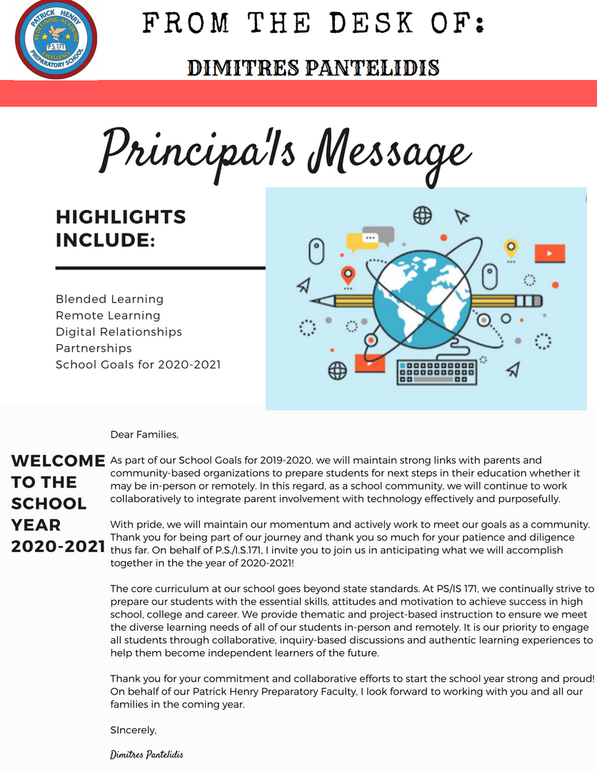 Principal Message for the PS171 School community