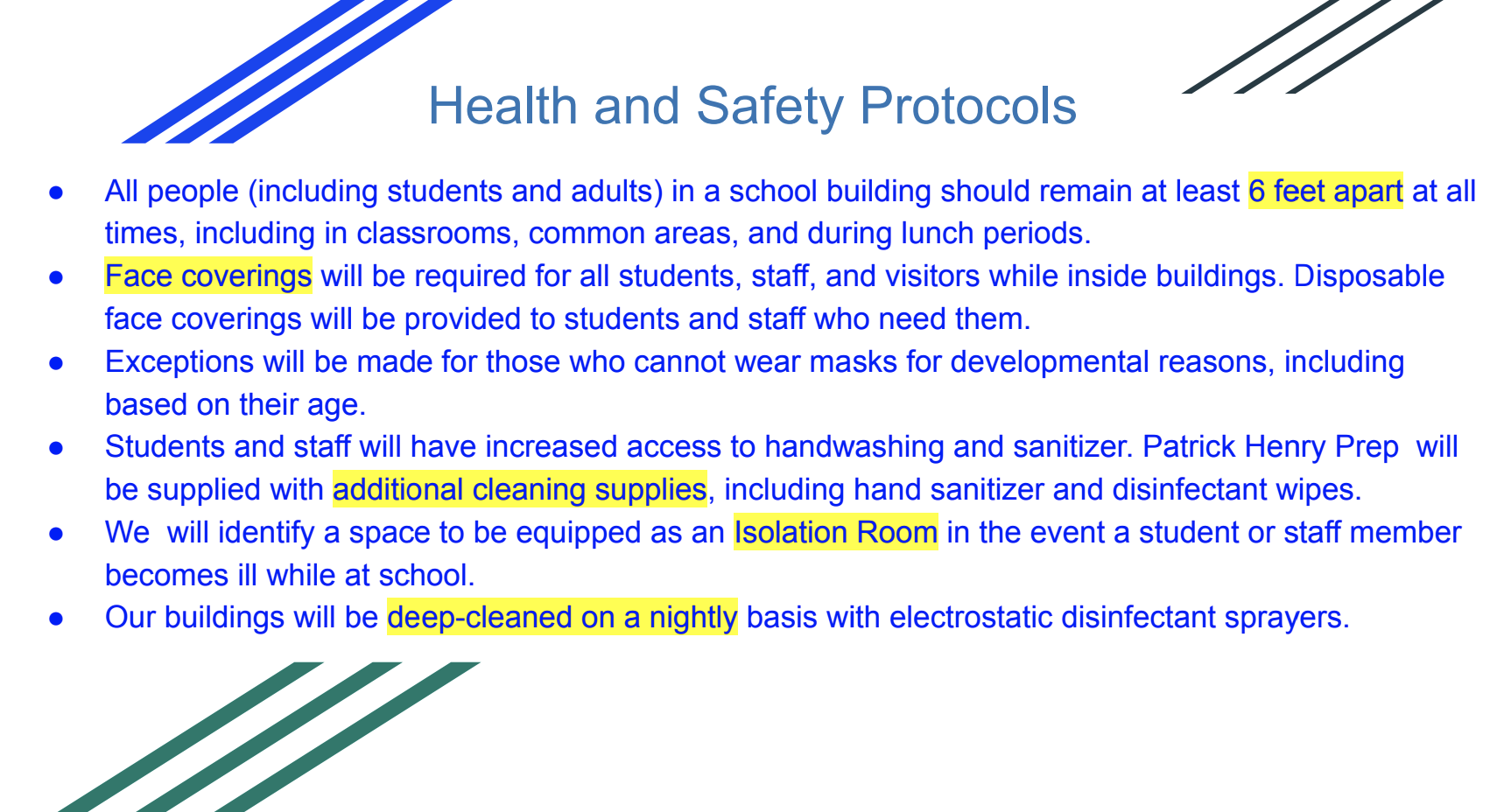 A list of health and safety protocols