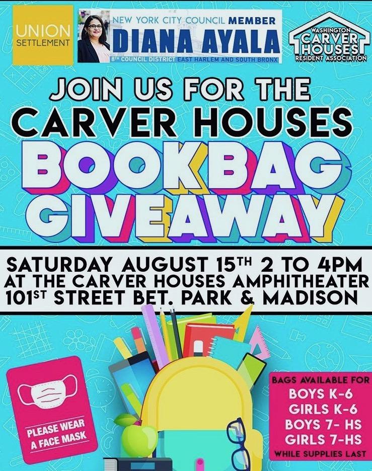 Book-bag giveaway flyer