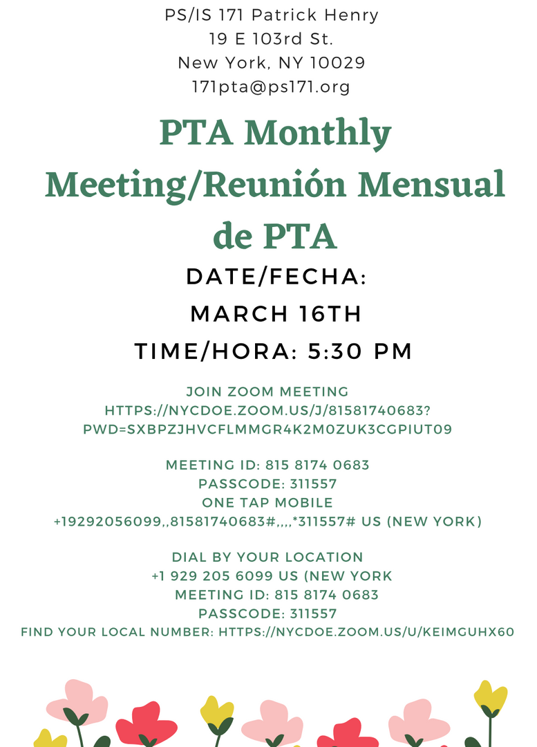 Flyer to PTA Meeting for March 16, 2021