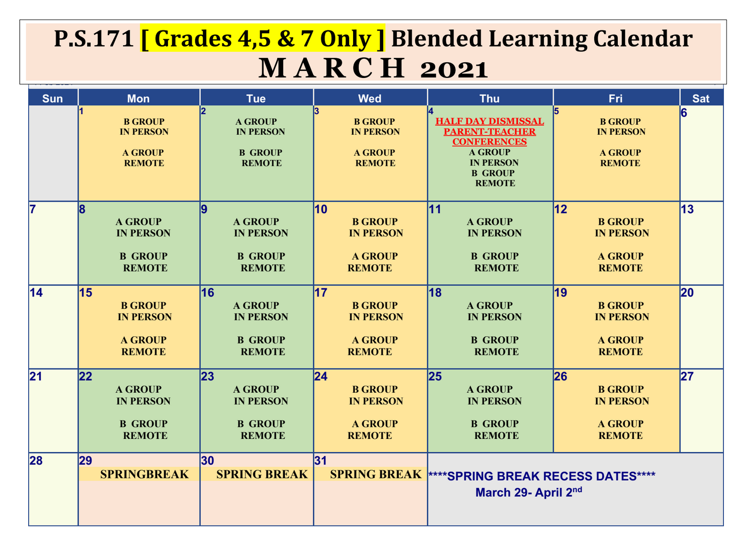 March Blended Learning Calendar for Students in Grades 4,5, & 7