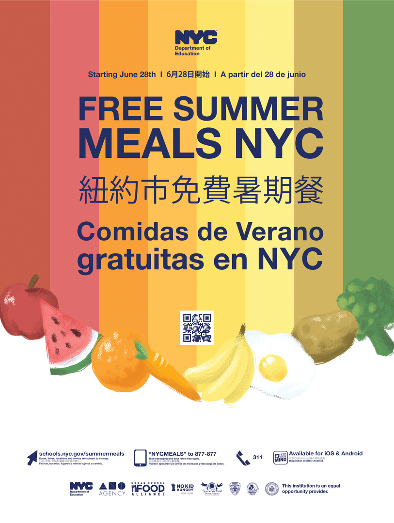 Free Summer meals poster for parents