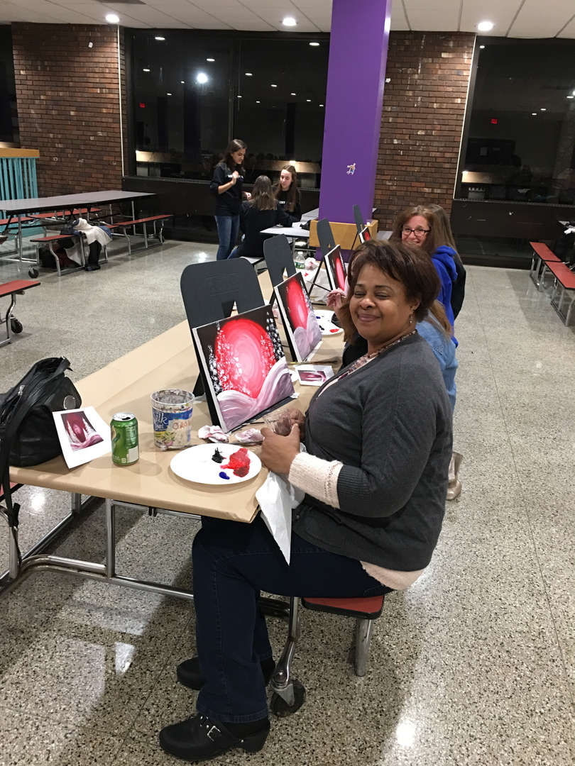 Faculty/Staff member at paint night