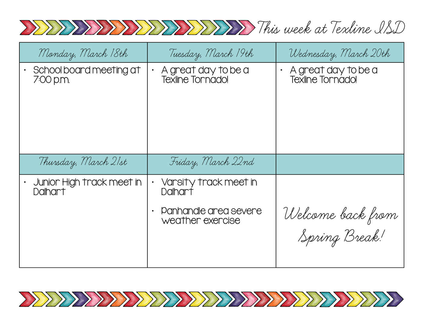 Events for the week of March 18th through March 22nd