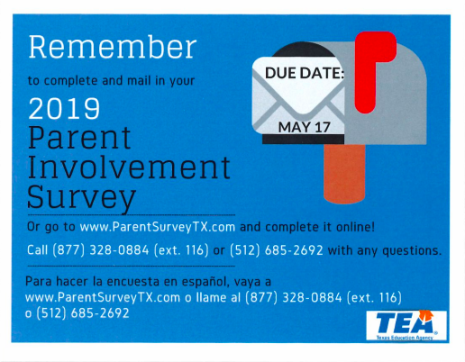 2019 Parent Involvement Survey by TEA