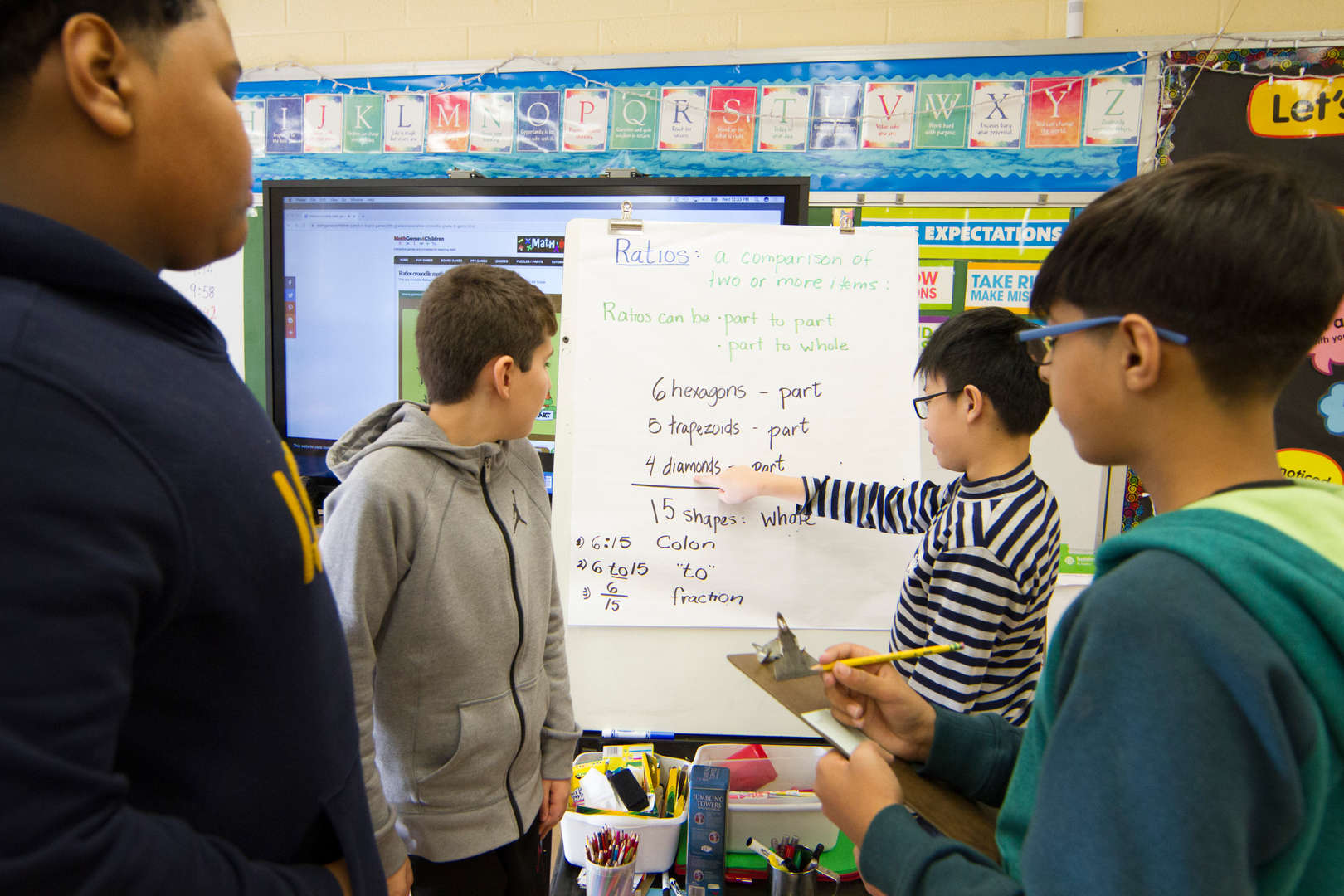 Students work together on a math project