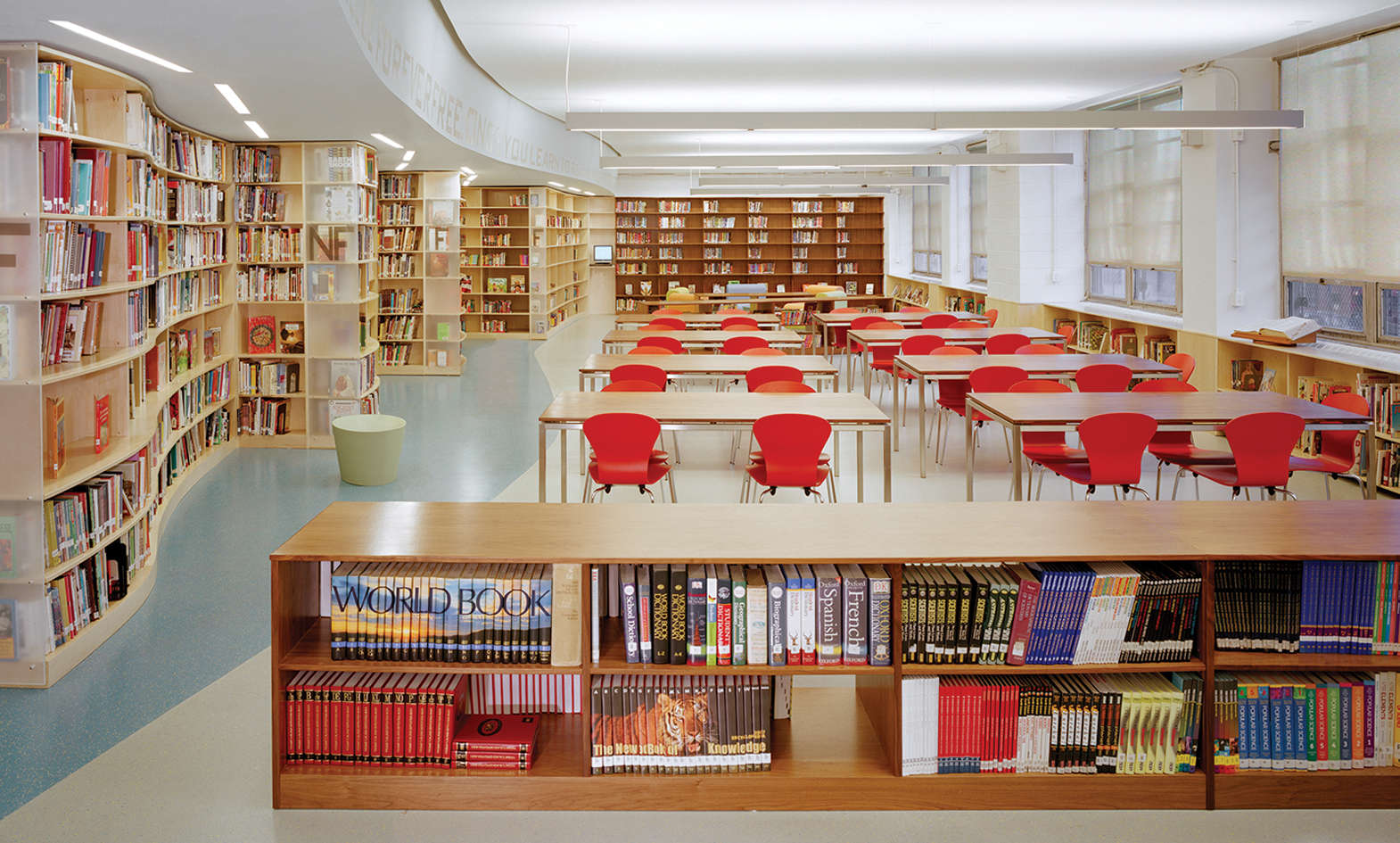 Photo of Wagner Middle School library filled with books.