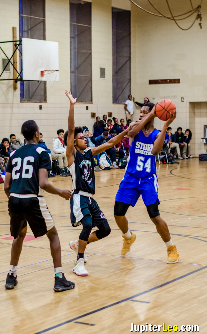 Baychester Basketball Player Defends the Ball.