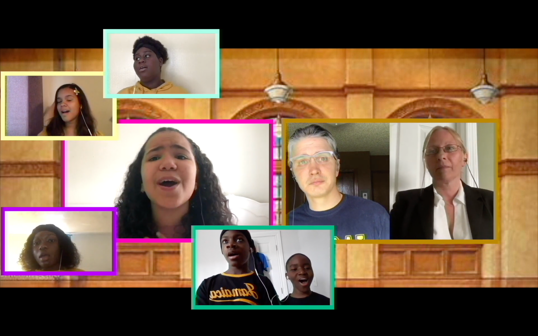 Students singing in virtual screen boxes in a nice house