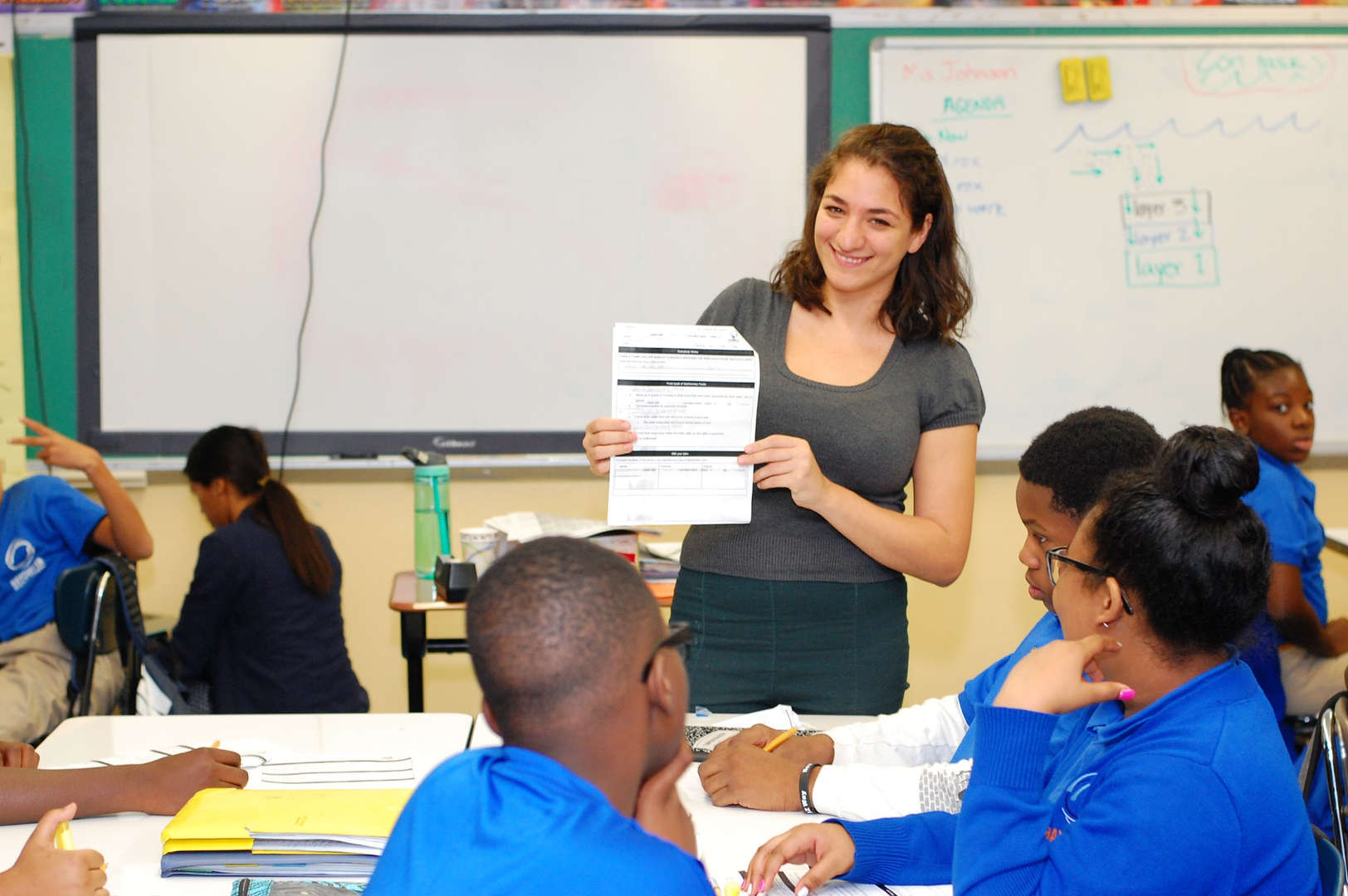 Students learning from Assistant Principal Rebecca Arsham.