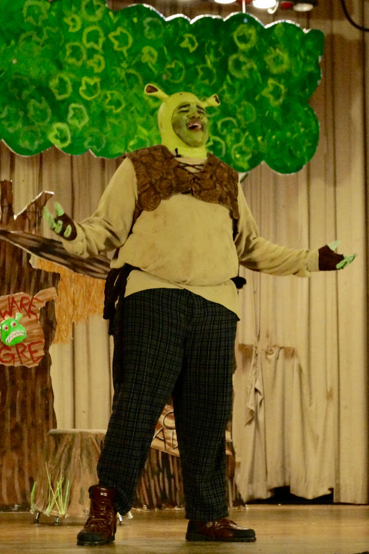 Shrek posing on stage