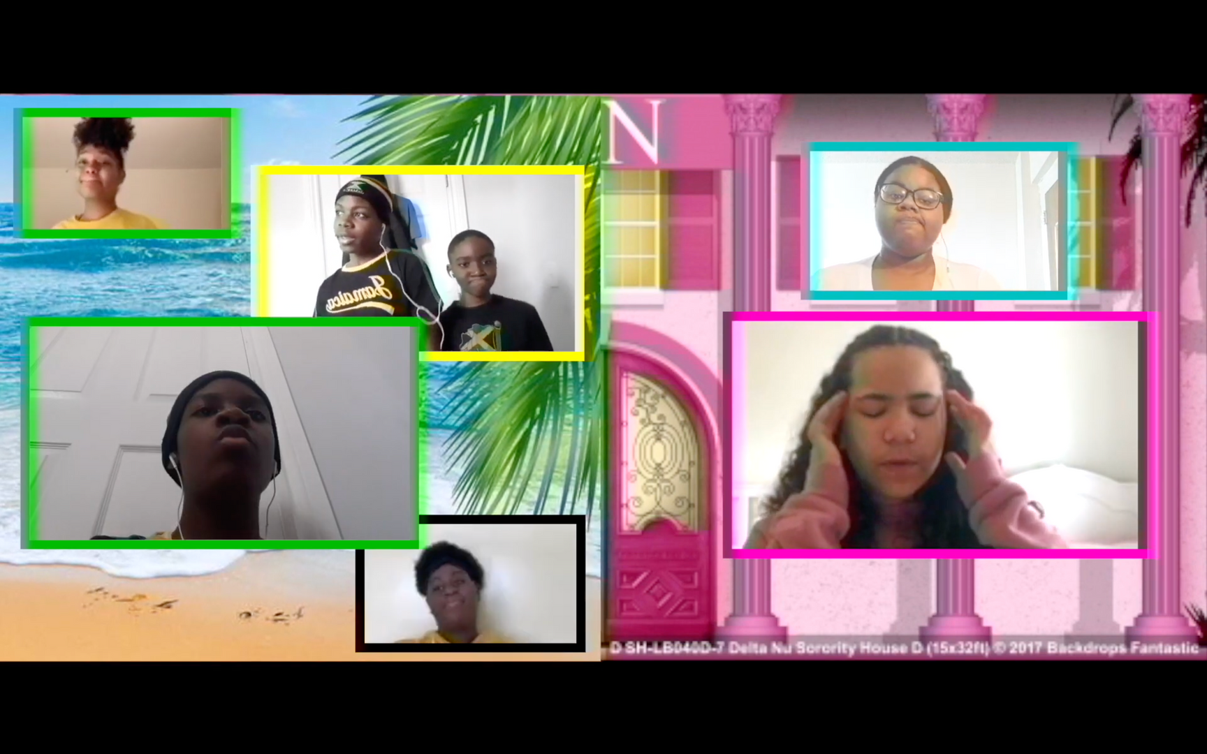 Students in virtual screen boxes in front of a split-screen background of a beach and sorority house