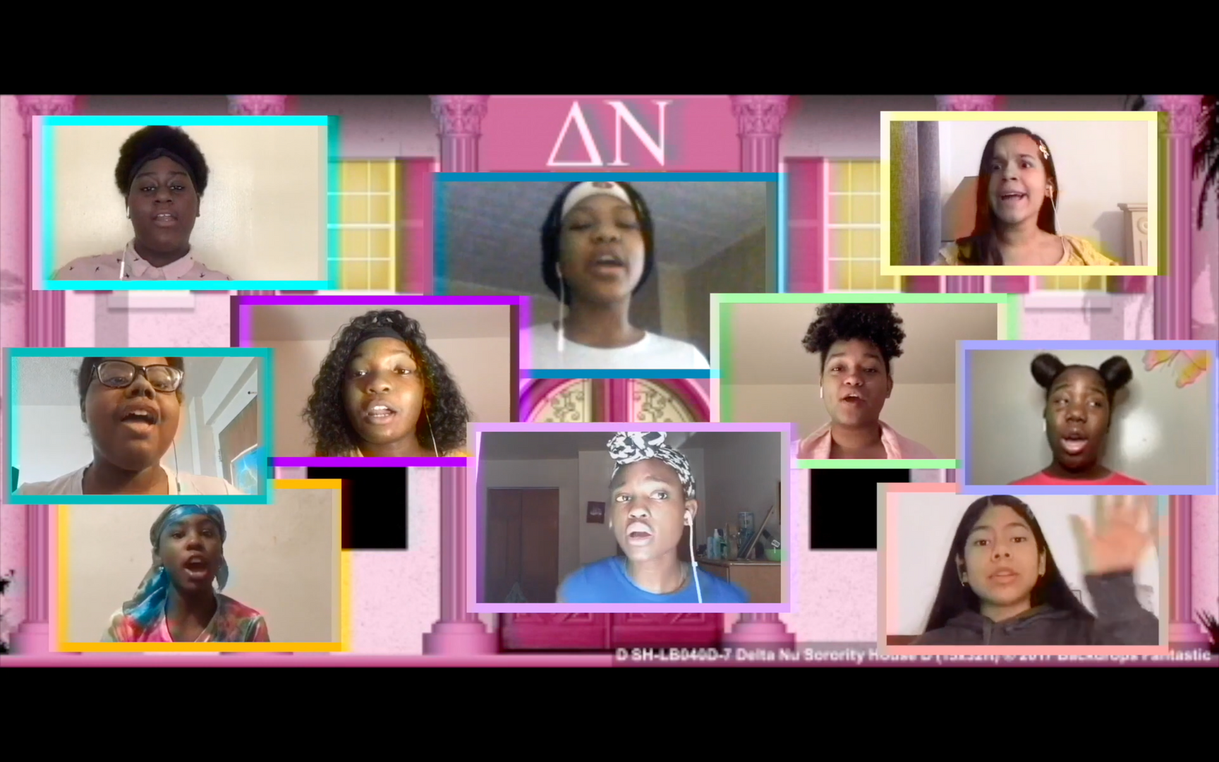Students in virtual screen boxes in a sorority house