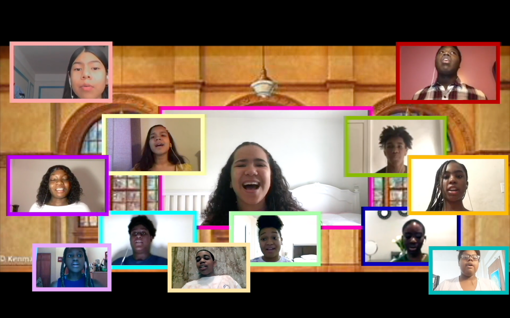 Thirteen students singing in virtual screen boxes in a nice house