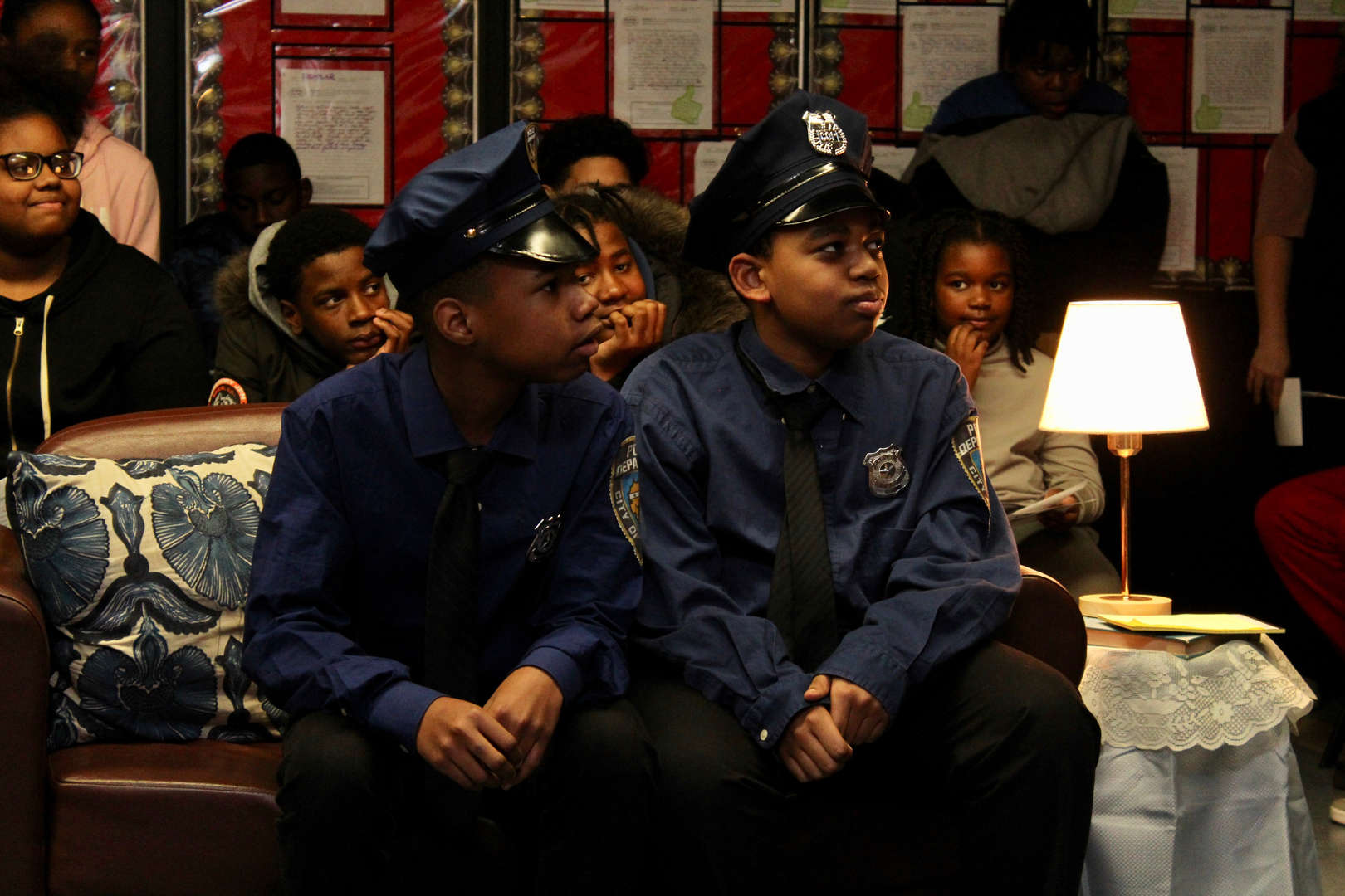 Actors dressed as two police officers