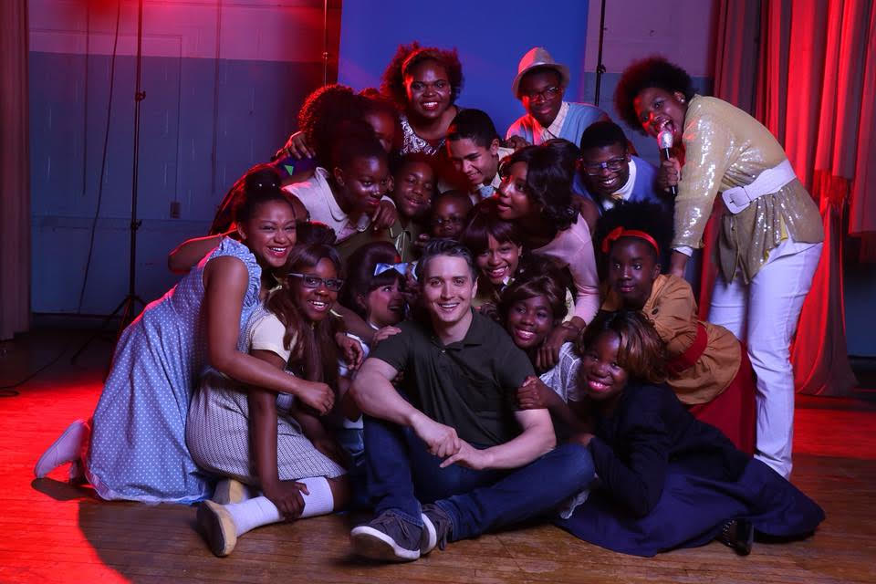Founding Theatre Teacher Mr. Andrulonis pose with students