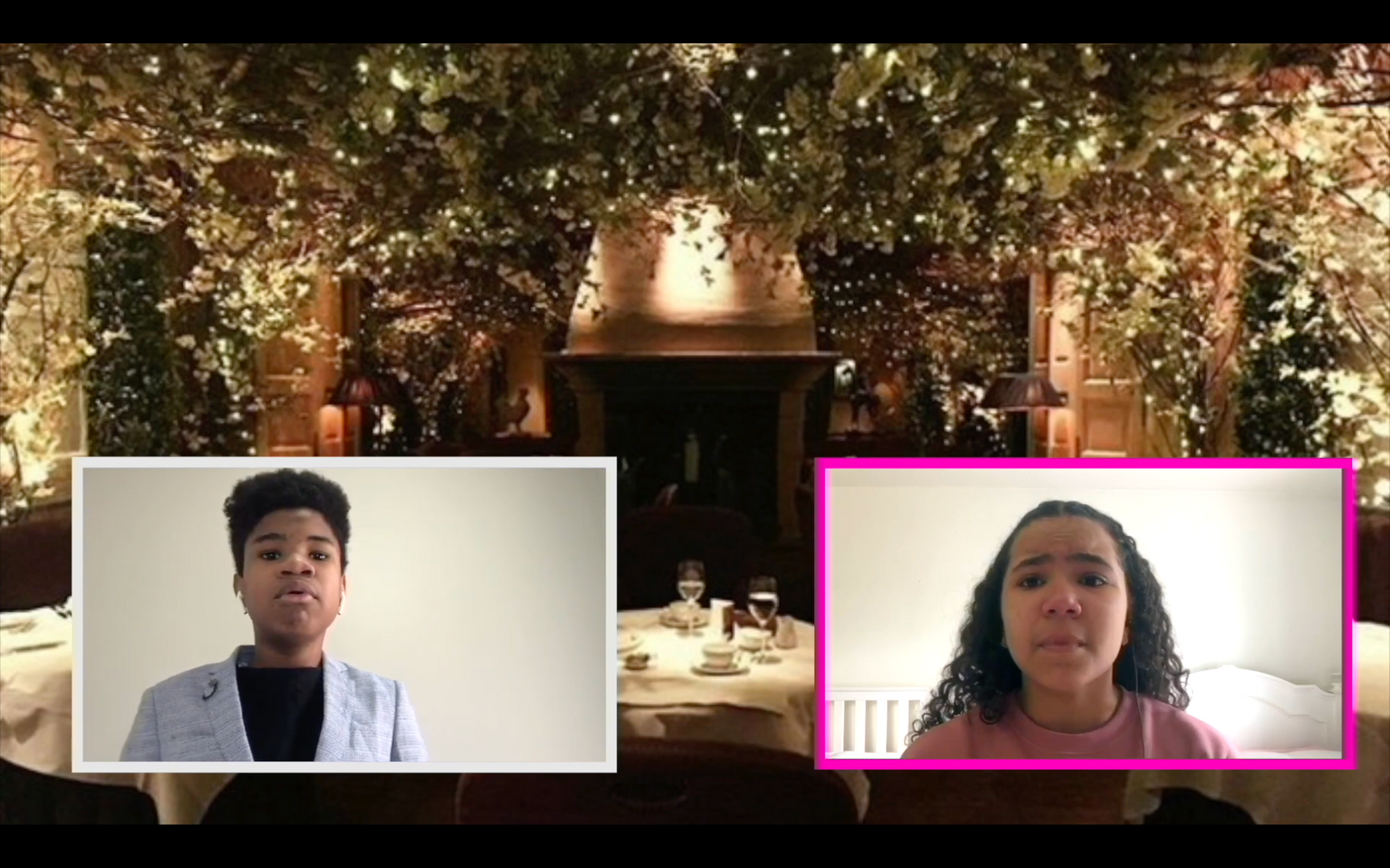 Two students in virtual screen boxes in front in a fancy restaurant