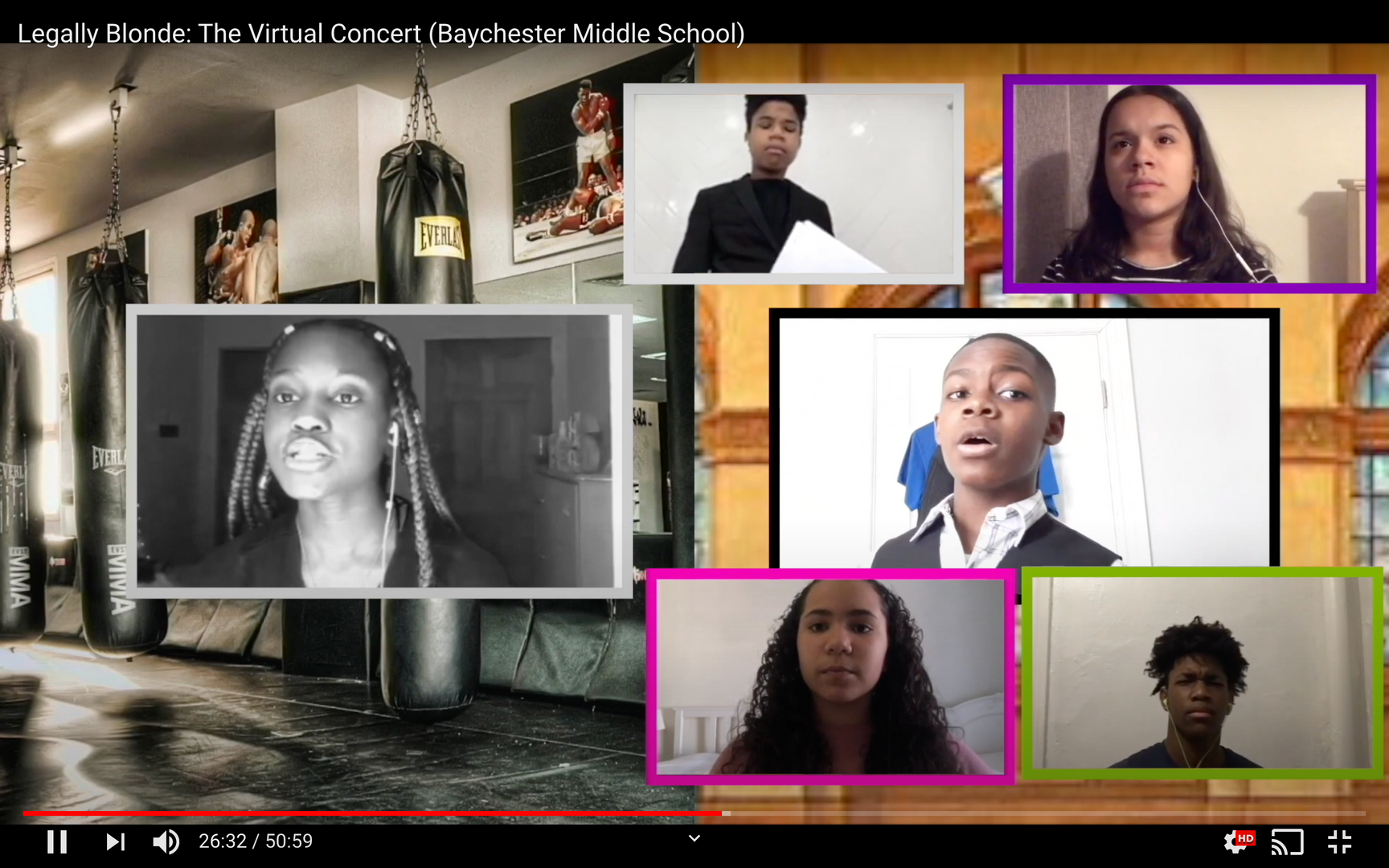 Students singing in virtual screen boxes in front of a split-screen of a nice house and a gym