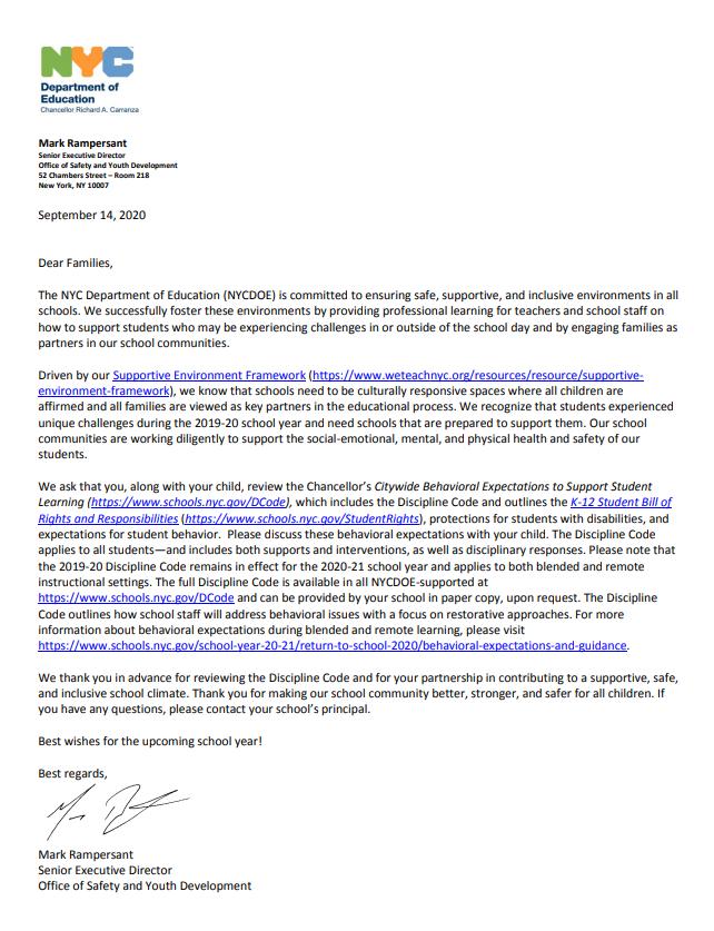 chancellor letter pg 1