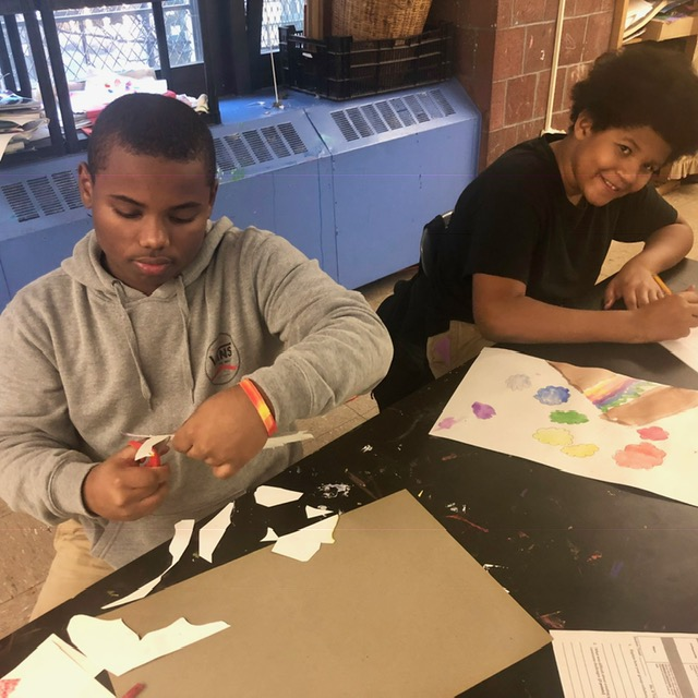 Students creating art in the art room.