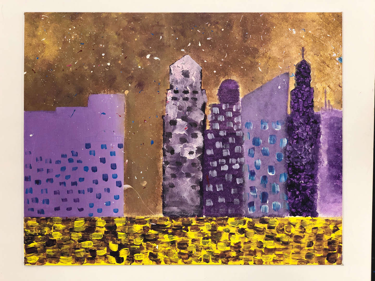 Artwork of purple buildings done by student Camari K.