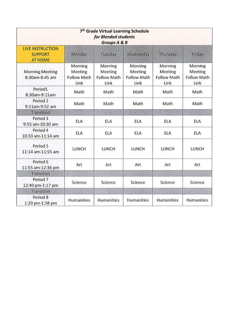 7 virtual schedule