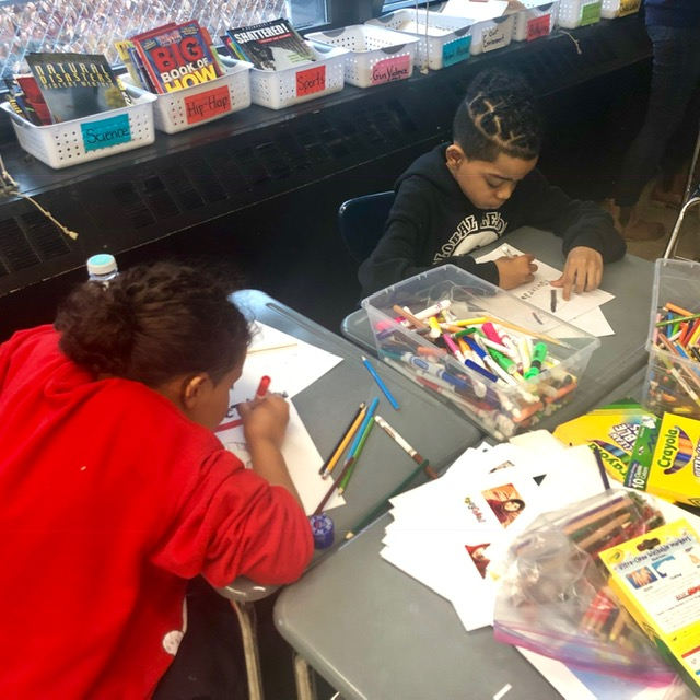 Students are working together on a class project.