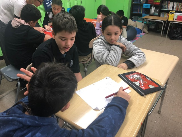 Students engaged in work.