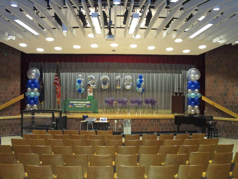 Auditorium stage set for a graduation