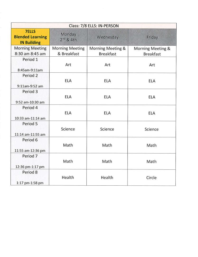 7 ell schedule