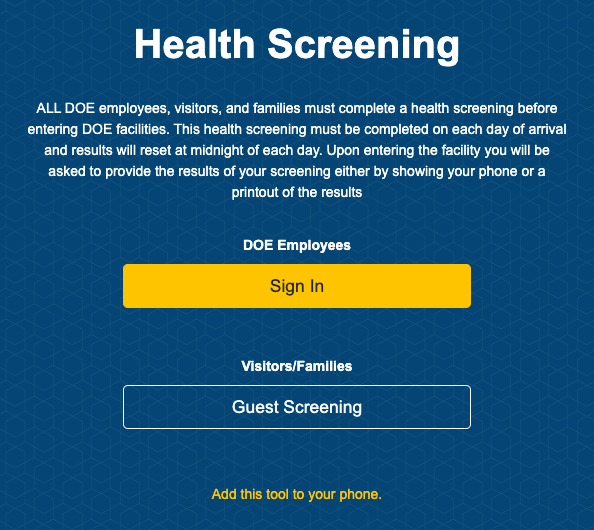 picture of DOE health screen website