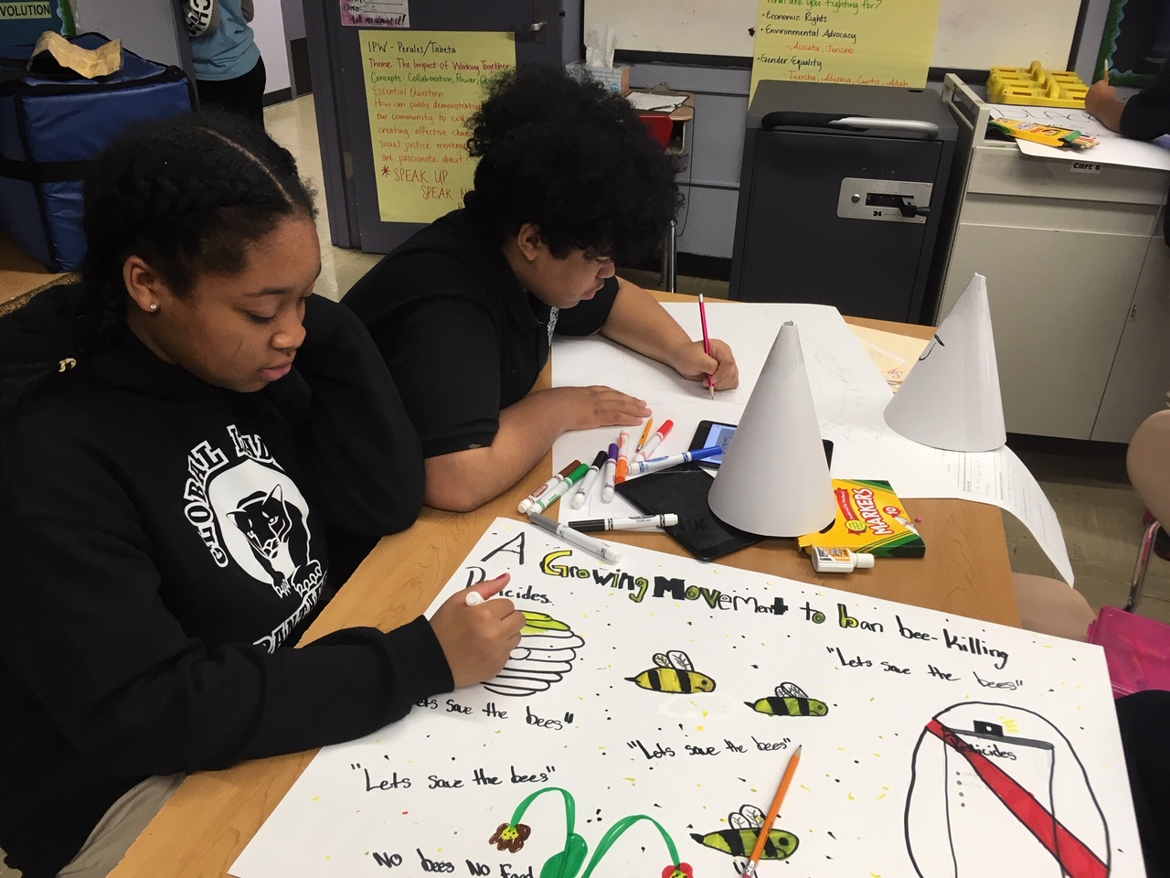 Students working on a class assignment together.