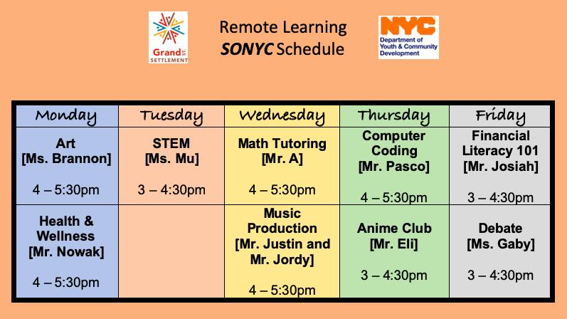 sonyc schedule