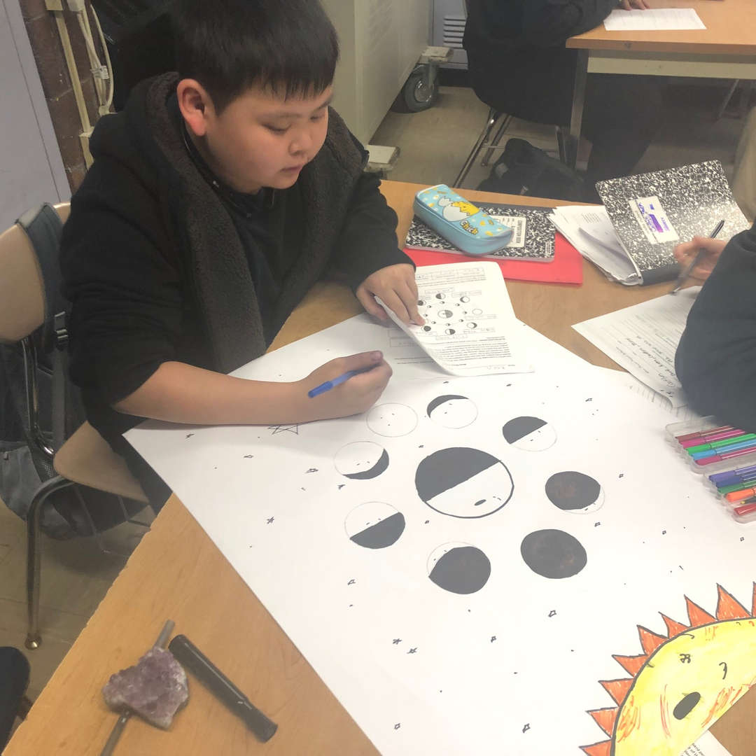 Student is drawing different phases of the moon on a paper.